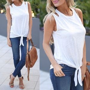 GABRIELLA Cut Out Tank Top - WHITE